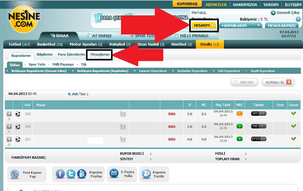 nesine.com üyelik iptali