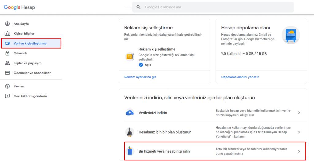 Google hesap silme nasıl yapılır
